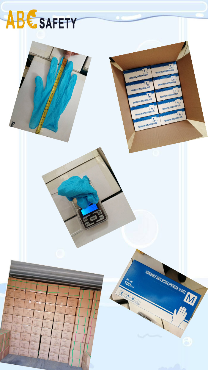 Disposable blue synthetic nitrile gloves,15% lower price than nitrile gloves