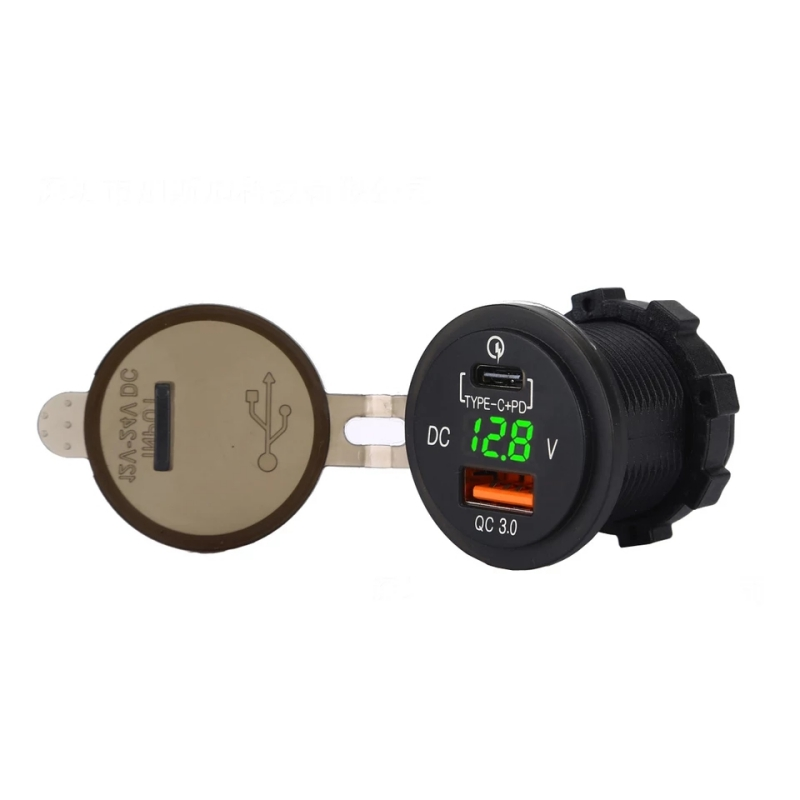 5v 2.1/1a waterproof quick charge qc 3.0 dual usb car charger led digital voltmeter display