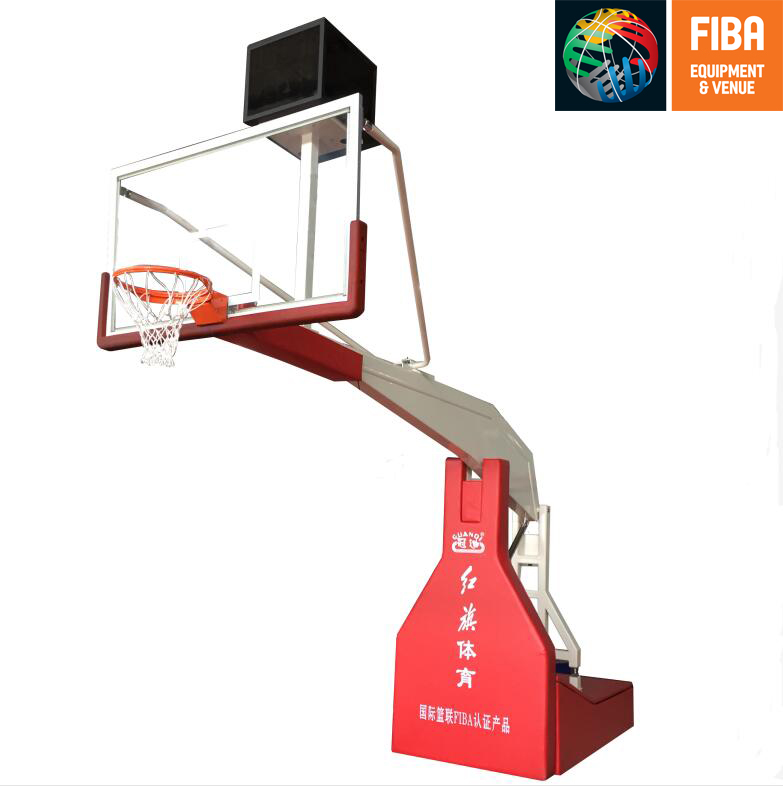 HQ-F10001 Hand  hydraulic   basketball stand with FIBA certificate