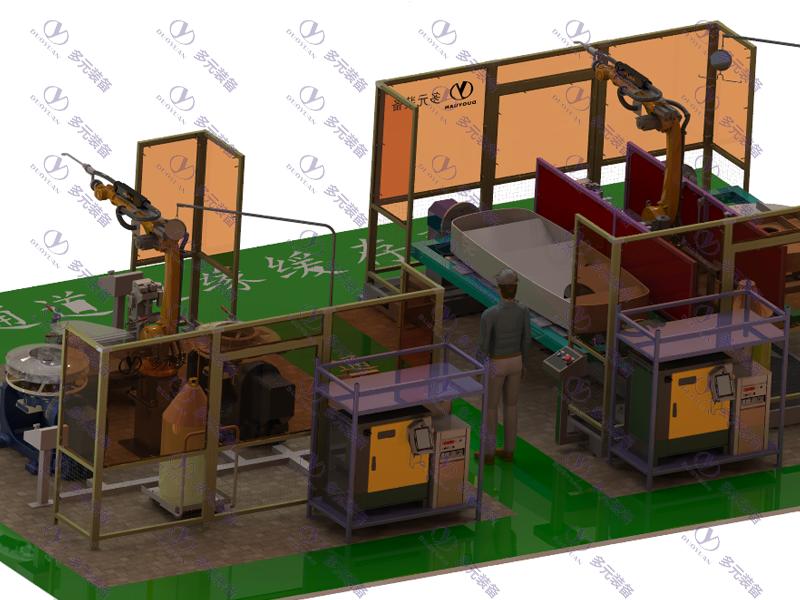 重工機械行業:環衛車零部件焊接工作站