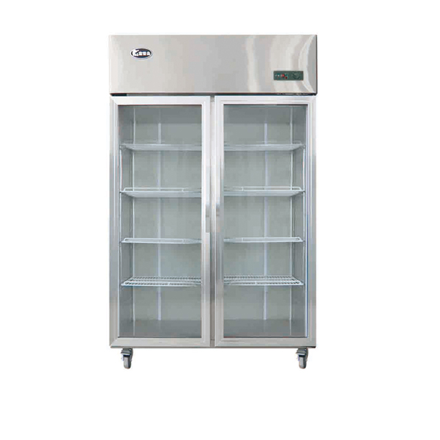 Double Glass Door Kitchen Refrigerator
