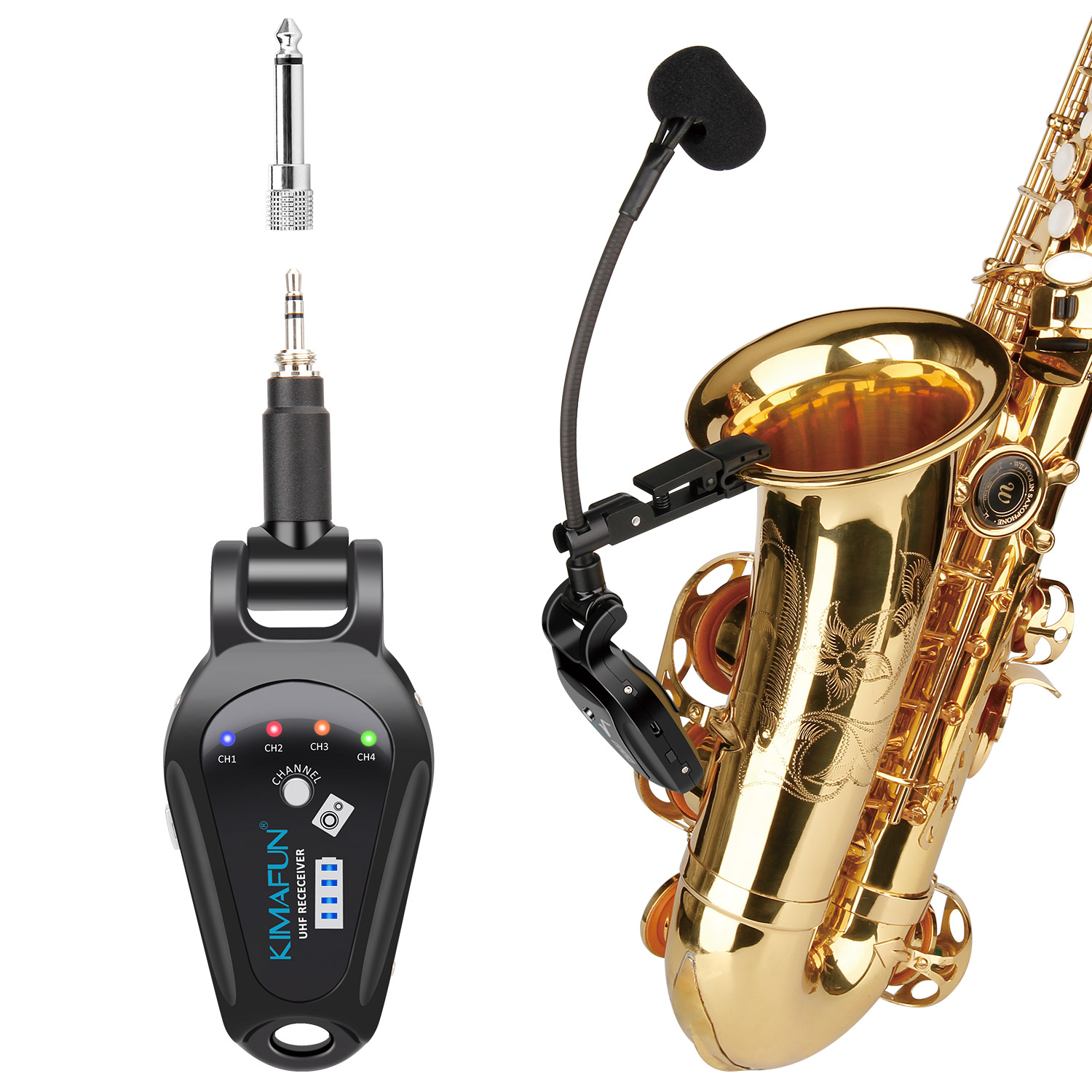 KM-U308A  Wireless UHF frequency saxophone microphone 4 channels microphone use for saxophone, large, small, and trumpet, any tube instruments.