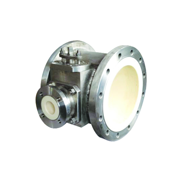 Three way ceramic reversing ball valve
