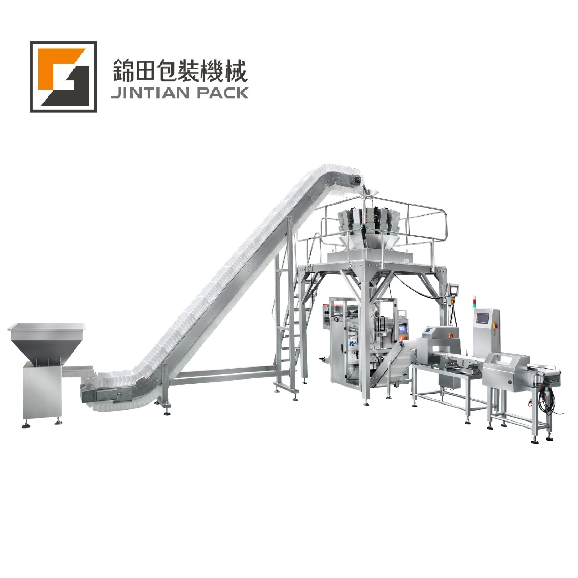 JT-520W Large packing machine with multihead weigher system