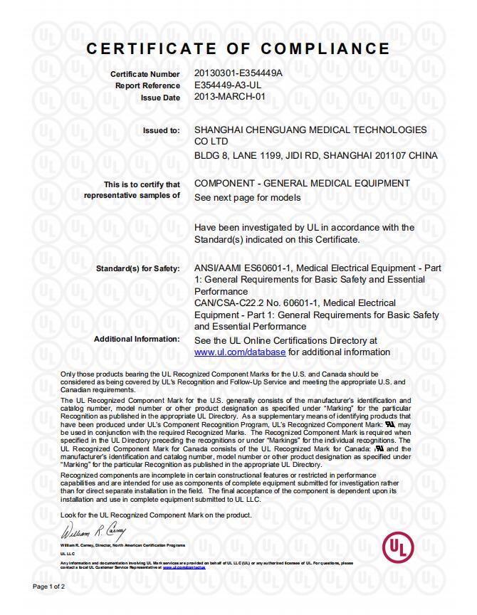 UL E354449-A3  CoC