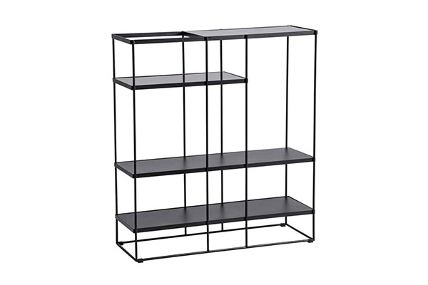 Modern Black wire metal frame MDF top bookcase short L230B G
