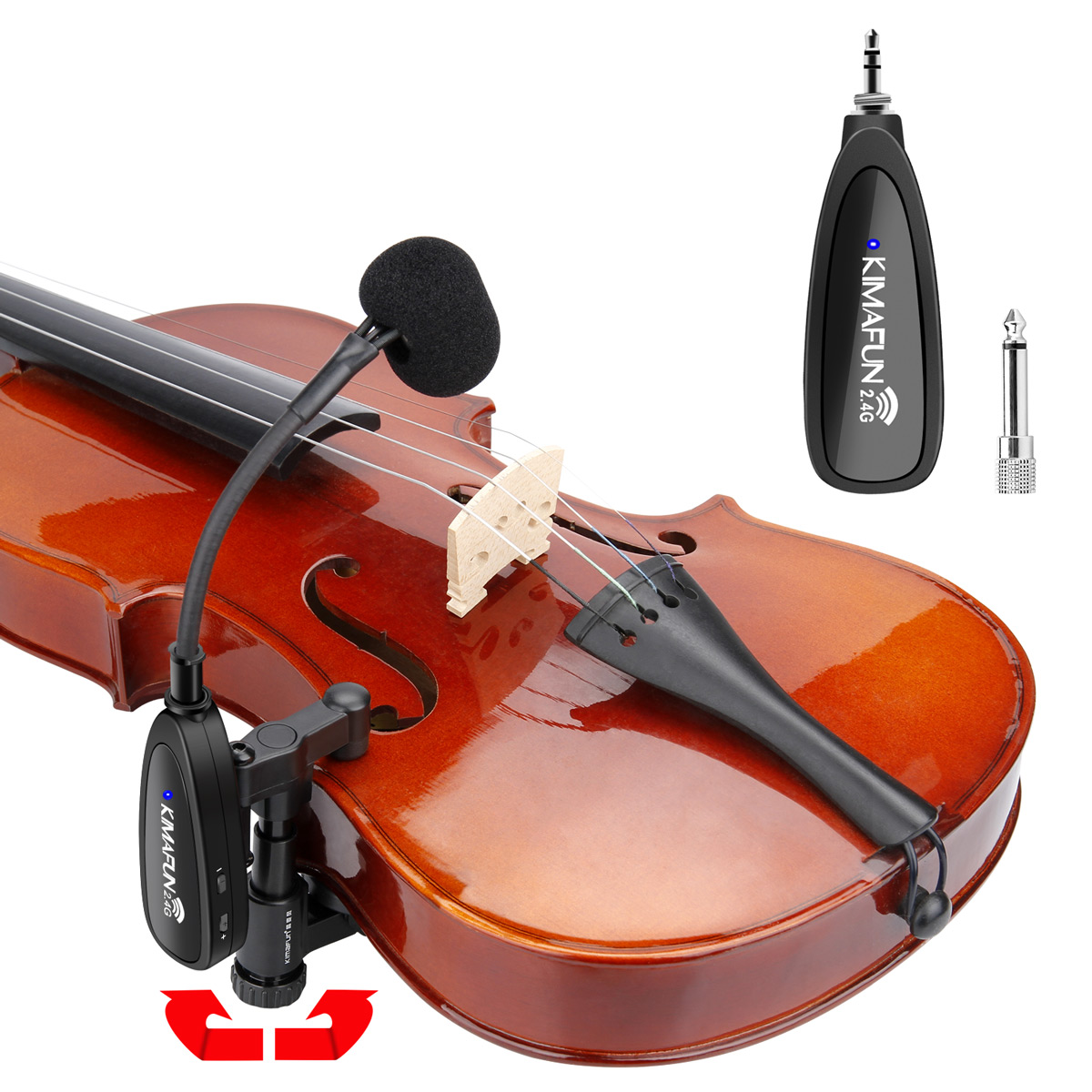 KM-CX220-3 KIMAFUN Violin microphone 2.4G Wireless Instrument Gooseneck Microphone Professional Musical Condenser Microphone for Violin