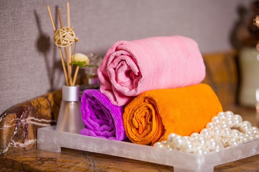 素色割絨巾