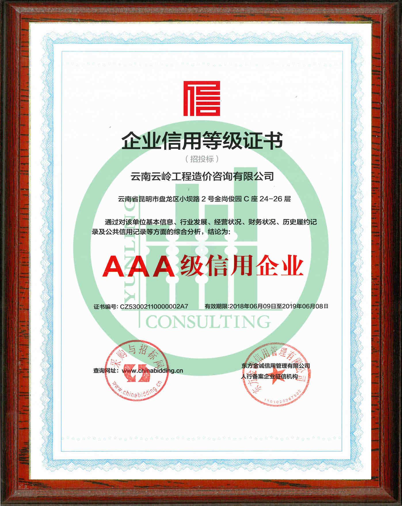 企業信用登記證書