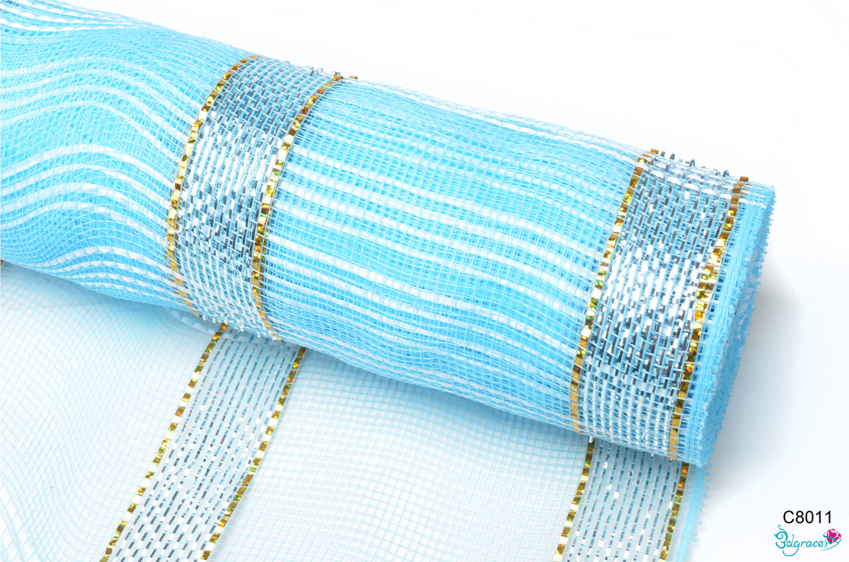 C80 Check Metallic Mesh C8011 Metallic In Sky Blue PP