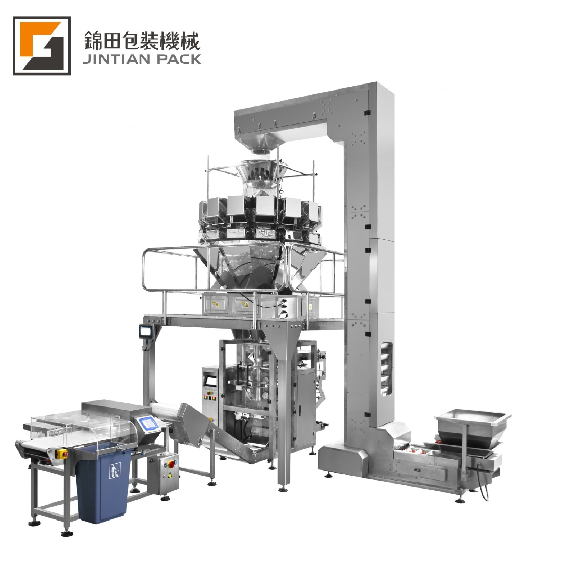 JT-460W 4 edge sealing packing line with multi-head weigher