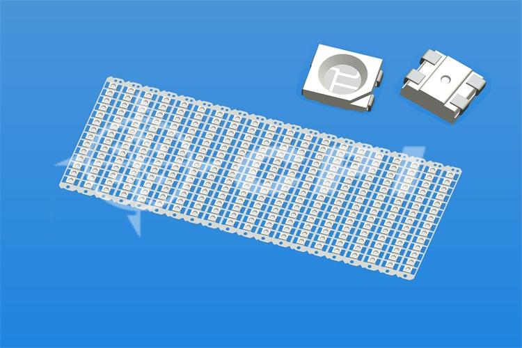 LED3528全彩14排一字型正向固晶片加寬型)支架白膠圓杯杯深0.84總高1.8   (14X20)  (P08231A)