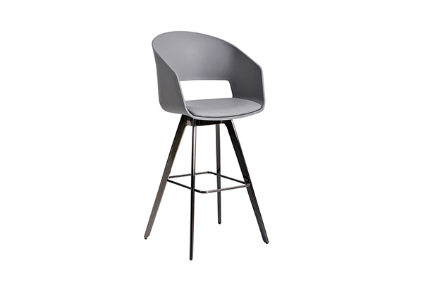 PP seat tapered Black Nickel bar stool chair S-229 g