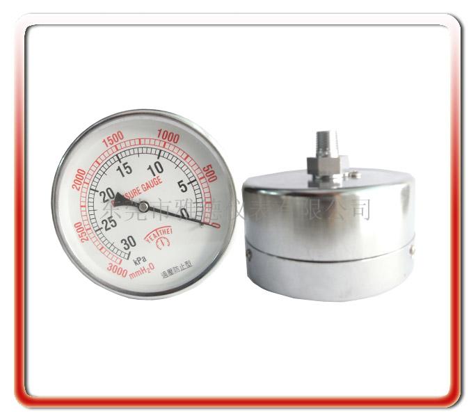 100MM軸向全不銹鋼微壓表