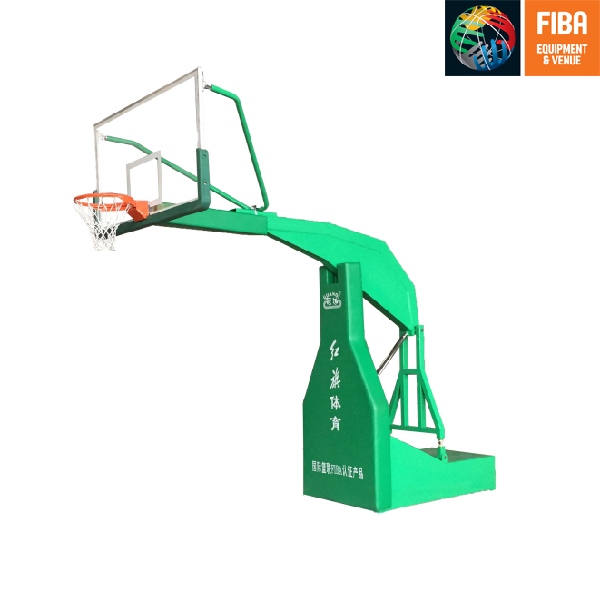 HQ-F1005 Flat box imitation hydraulic  basketball stand with FIBA certificate