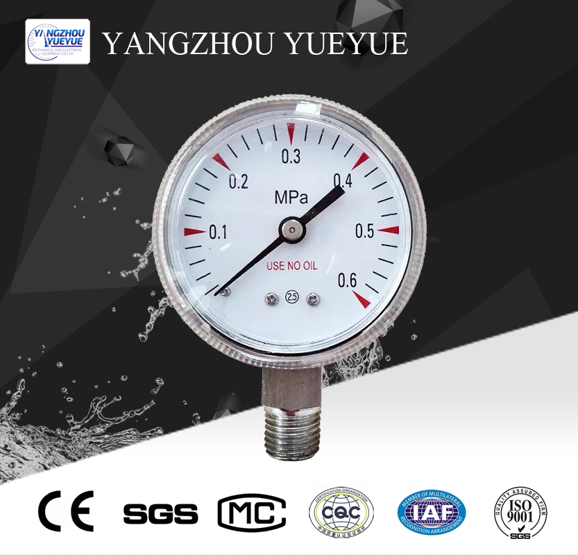 50mm stainless steel oxygen pressure gauge(lower mounting)