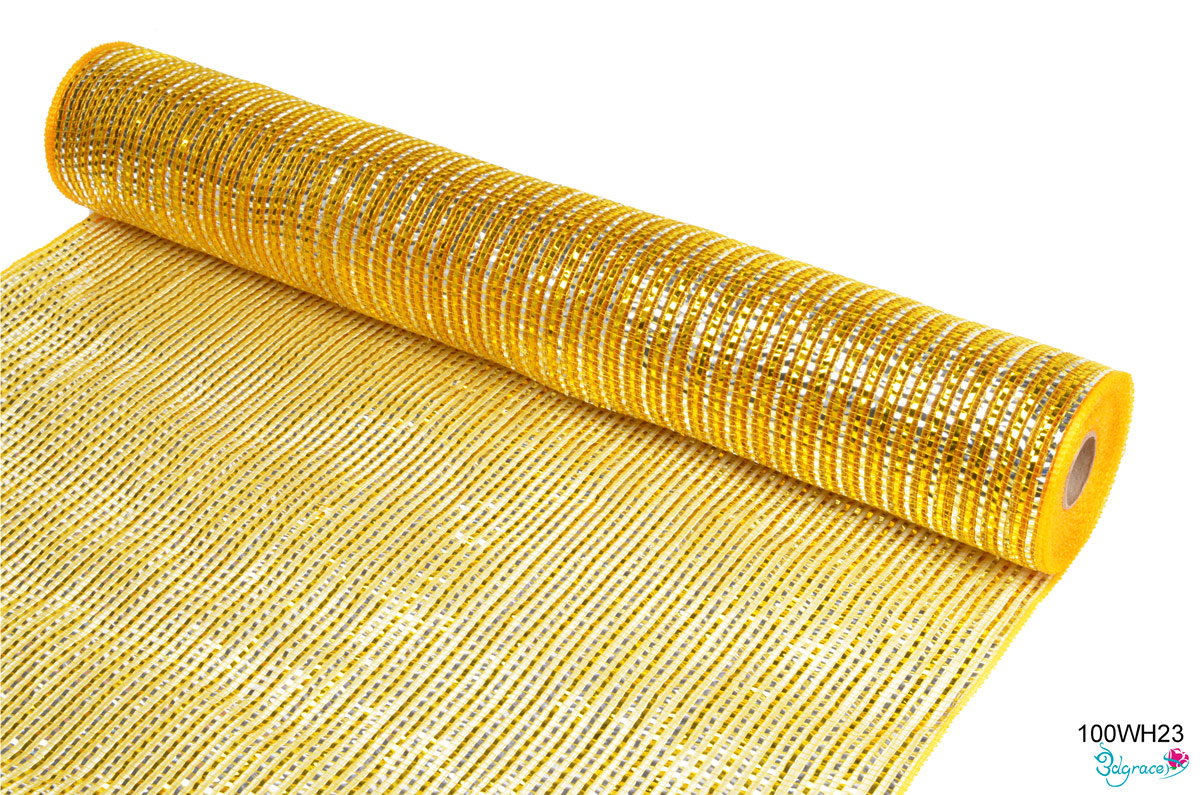 100WH Group Metallic Mesh 100WH23 Wide Gold And Silver Metallic In Dk.Gold  PP