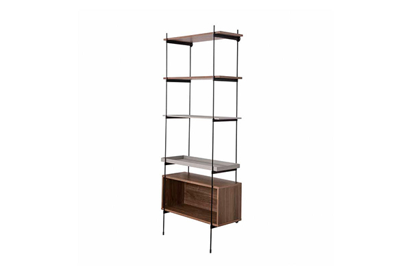 Adjustable Black wire frame wooden layer bookcase 34g
