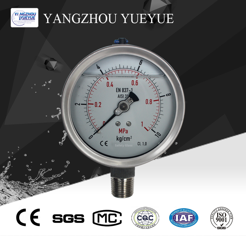 100mm liquid filled pressure gauge(lower mounting with laser welding)
