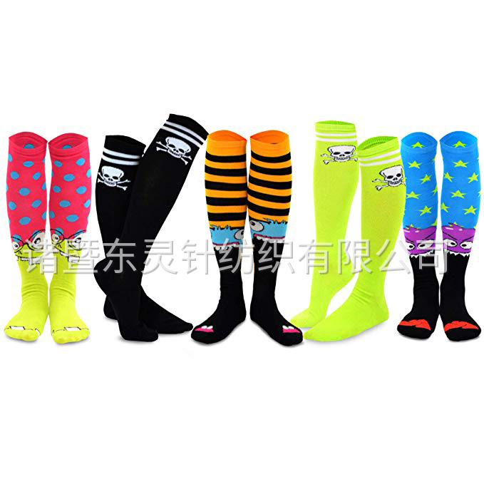 Dongling Women's Creative Cotton Knee Socks 5 Pairs