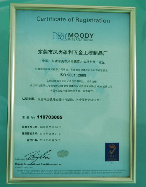 Chinese version of ISO certificate