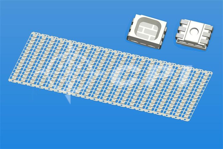 LED3528全彩14排一字型六腳正向晶片支架白膠方杯杯深0.54總高1.50  (14X20)     (P03331C)