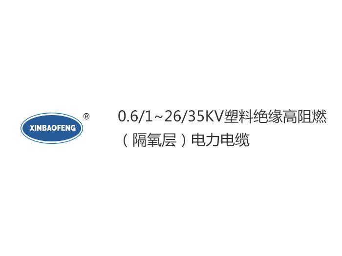 0.6/1~26/35KV塑料絕緣高阻燃(隔氧層)電力電纜
