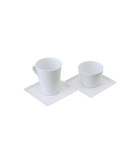 方形&圆形杯与盘套装