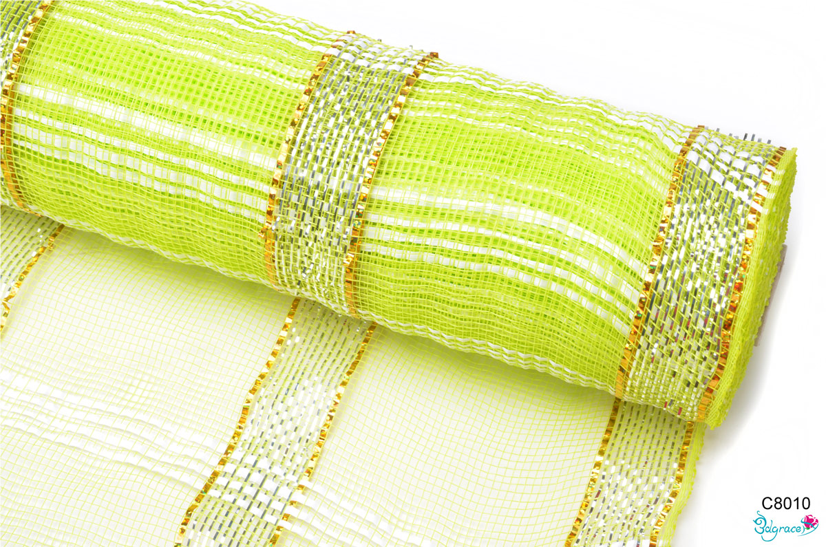 C80 Check Metallic Mesh C8010 Metallic In Apple Green PP