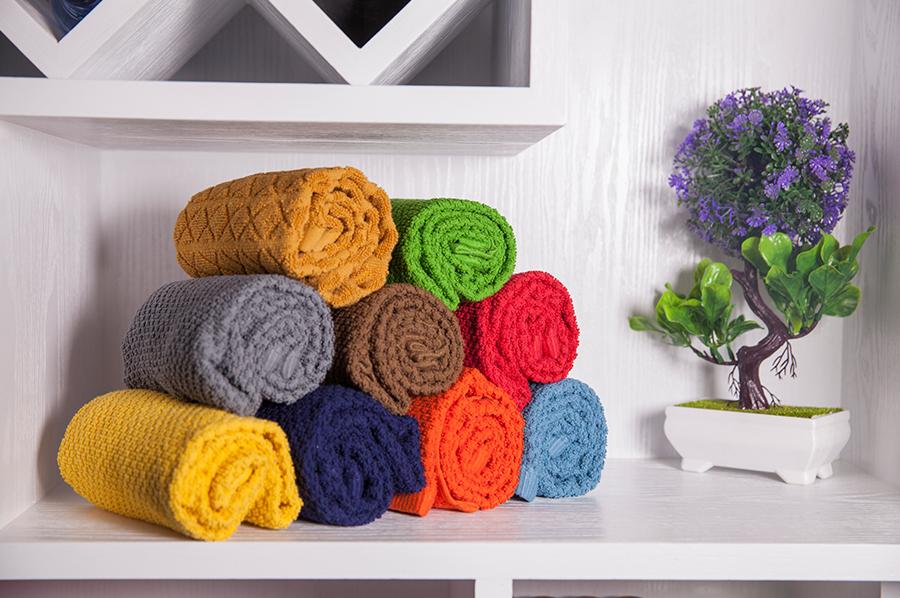 素色提花巾