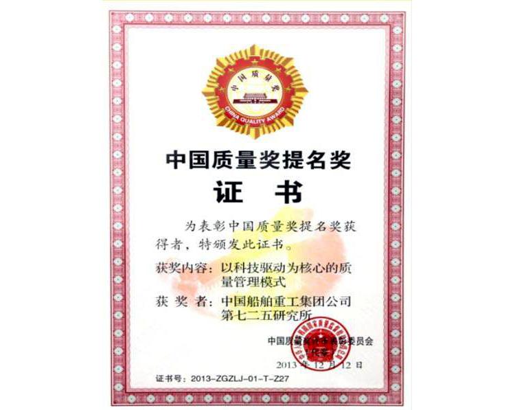 中国质量奖提名奖