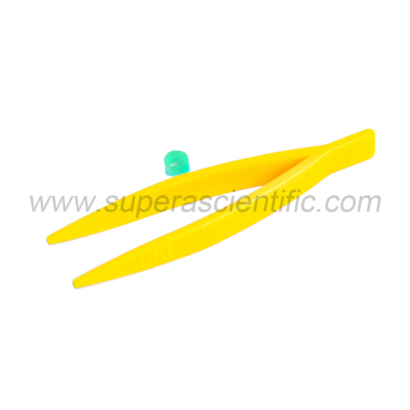 "402 Plastic Forceps - Pointed 4"" Yellow"